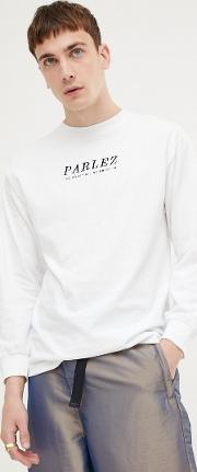 long sleeve t shirt with embroidered front logo in white