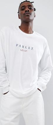 long sleeve t shirt with embroidered sport script chest logo in white