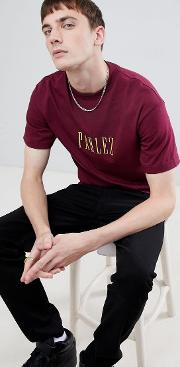 t shirt with embroidered logo in burgundy