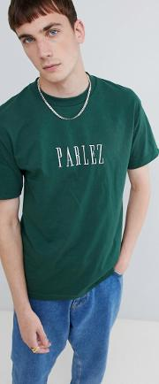 t shirt with embroidered logo in green
