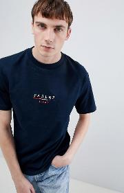 t shirt with embroidered sport bar logo in navy
