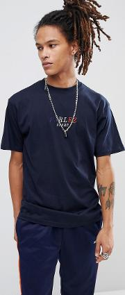 t shirt with tri sport logo in navy