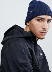 fisherman's rolled beanie in navy