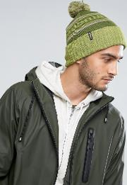 Powder Town Beanie Bobble Logo In Green