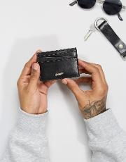 contrast leather card holder in black
