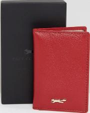leather folding card holder  red