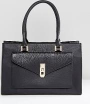 real leather black tote with snake embossed pocket