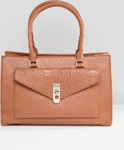 real leather tan tote with snake embossed pocket