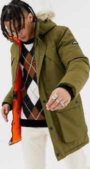 Kirby Insulated Hooded Parka Detachable Faux Fur Trim Olive