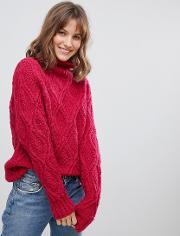 Hand Knitted Cable Wool High Neck Oversized Jumper