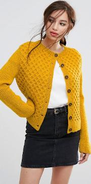 Hand Knitted Honeycomb Cable  Cropped Cardigan