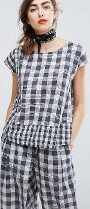 hand woven boxy top in picnic check co ord