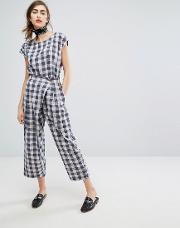 Hand Woven Wrap Front Trousers In Picnic Check Co Ord