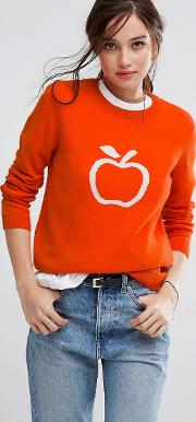 Organic Cotton Jumper With Apple Graphic