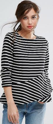 Organic Cotton Long Sleeve Top With Frill Detail In Stripe