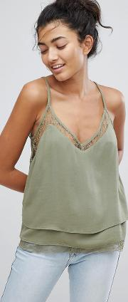layered lace hem cami top