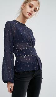 louise ruched waist printed blouse