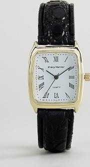 Black Strap Watch With Square Dial
