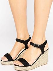Halloumi Black Espadrille Wedge Sandals