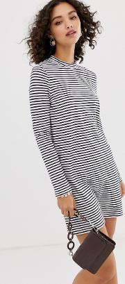High Neck Long Sleeve Jersey Mini Dress