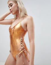 Metallic Swimsuit With Laced Sides