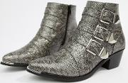 Snake Effect Buckle Ankle Boot