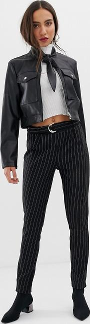Stripe Trouser With D Ring Belt
