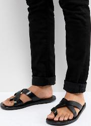 leather sandals in black