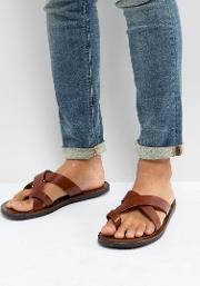 leather sandals in tan