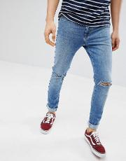 slim fit jeans in light blue with rips