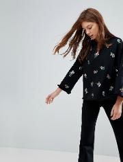 ditsy floral embroidered jumper