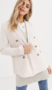Linen Blend Double Breasted Blazer Nude