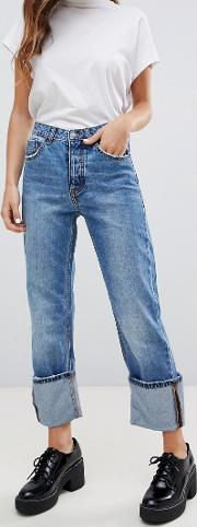 Turn Up Straight Leg Jeans