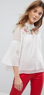 White Dobby Mesh Blouse With Embroidered Yoke