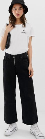 Wide Leg Jeans With Zip Detail