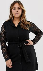 Button Through Shirt Dress With Tie Waist And Contrast Lace Sleeves