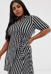 Mini Shirt Dress With Tie Waist Stripe Print