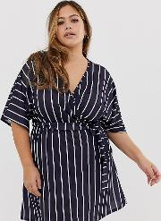 Wrap Dress With Fluted Sleeves