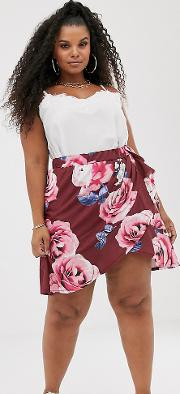 Wrap Front Mini Skirt With Ruffle Hem Rose Floral