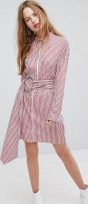 Shirt Dress With Metal Ring Belt Wrap  Stripe