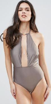 cut away swimsuit with hardware