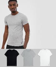 3 Pack Crew Neck T Shirts With Polo Player Logo