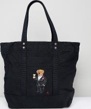 bear embroidery canvas tote bag in black