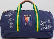 canvas large player logo duffel bag in navy