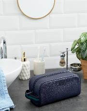 pebbled leather wash bag in navy