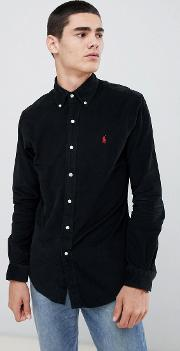 Slim Fit Fine Cord Shirt Player Logo Button Down