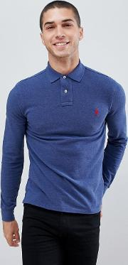 Slim Fit Long Sleeve Pique Polo Player Logo