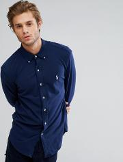 Slim Fit Pique Shirt Buttondown In Navy