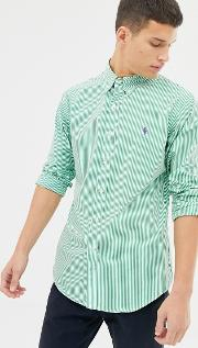 Slim Fit Striped Poplin Shirt With Button Down Collar