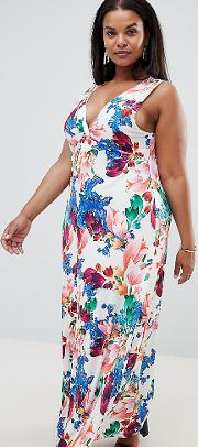 Floral Maxi Dress With Knot Front